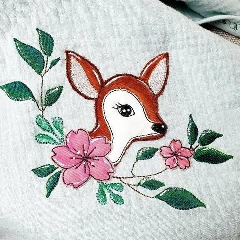 Stickdatei Reh im Blumenbouquet Doodle