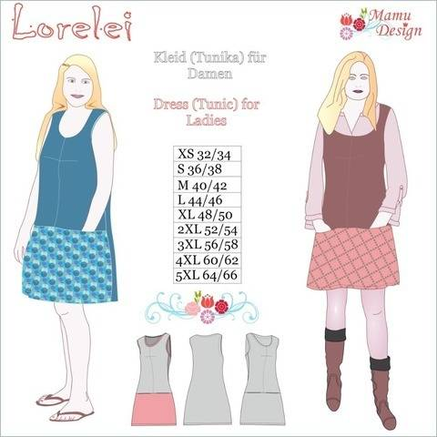 Knee-length Dress Tunic LORELEI Pattern Size XS - 5XL