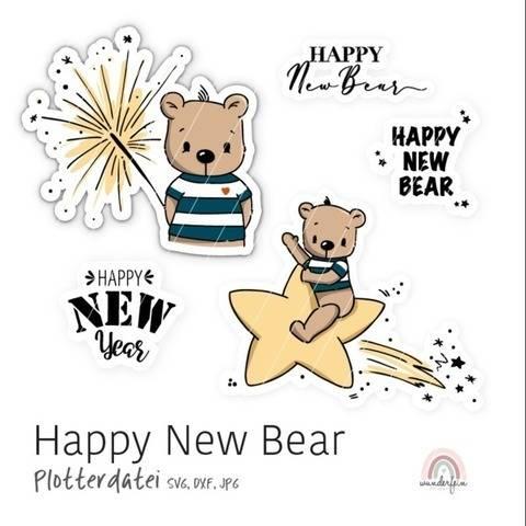 Plotterdatei Happy New Bear von Wunderfein