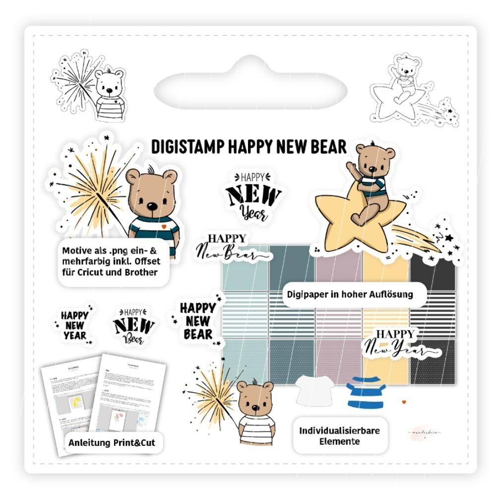Digistamp Happy New Bear inkl. Anleitung & Digipaper