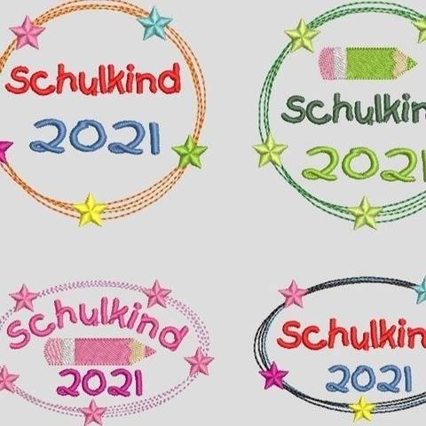 Stickdatei Einschulung 2021 Schulkind, Doodle Button 562