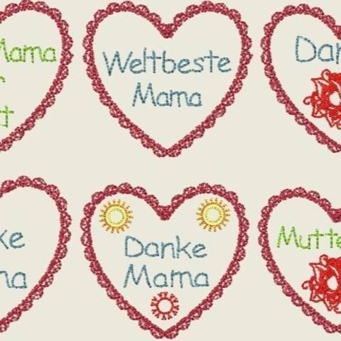 Stickdatei Muttertag  Herz Beste Mama Set 152
