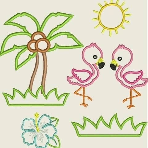 Stickdatei  Flamingo Applikation 10x10  Set 462