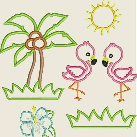 Stickdatei  Flamingo Applikation 13x18  Set 462