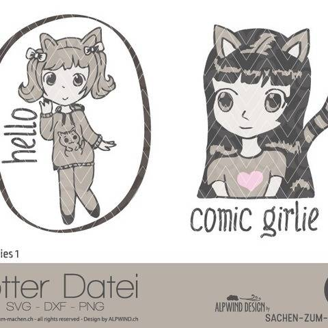 "Plotter-Datei ""comic girlie"" #1"