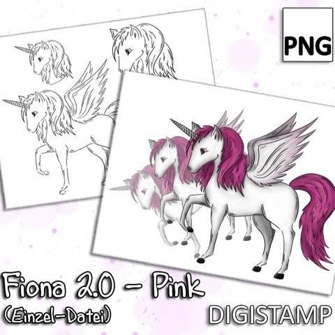Fiona 2.0 - Einhorn Pegasus - Pink - DigiStamp - Einzeln