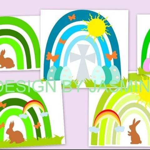 Plotterdatei Regenbogen Ostern Hase Taufe 1