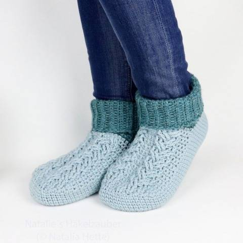 "Häkelsocken ""Cozy"", PDF + Video (Gr. 35-46, Zopfmuster)"