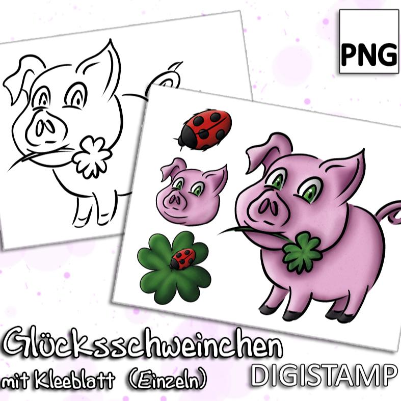 Glücksschweinchen - DigiStamp - Einzeln