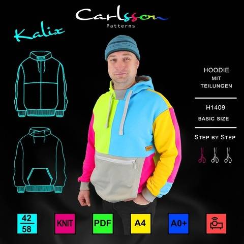 KALIX H1409 Hoodie Herren Basic Size 42-58 CARLSSON PATTERNS