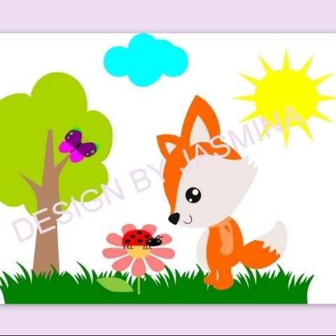 Plotterdatei Fuchs Sonne Blume Wiese Set 1 SVG