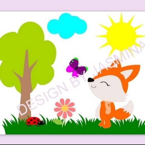 Plotterdatei Fuchs Sonne Blume Wiese Set 2 SVG