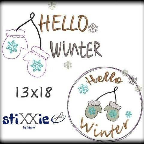 "Stickdatei DoodleAppli Hello Winter 13x18 (5x7"")"