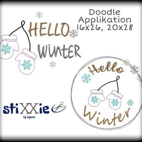 "Stickdatei DoodleAppli Hello Winter 20x28 (8x11"")"