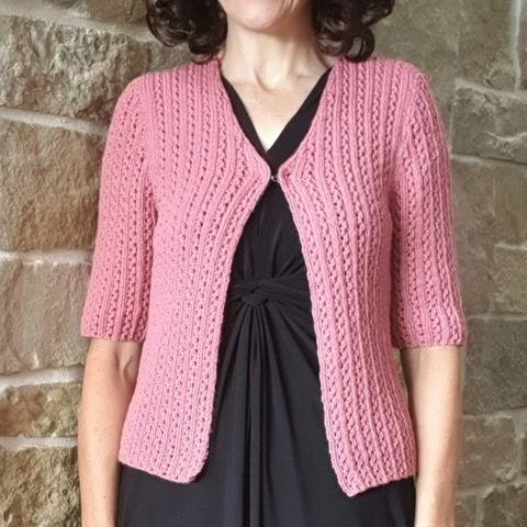 V neck lace cardigan with elbow length sleeves - Maree