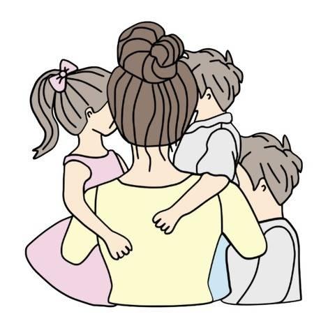 Plottdatei Mutter mit Tochter und 2 Söhnen