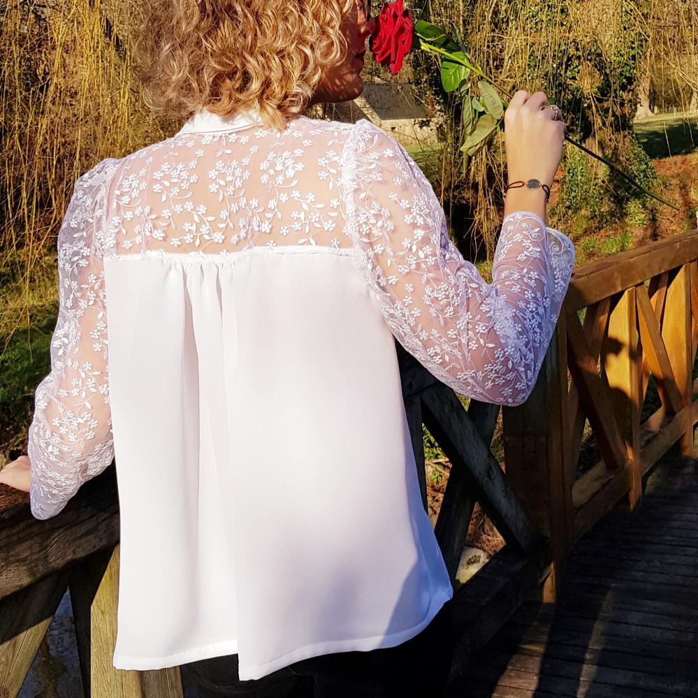 """Option empiècement dos pour la blouse """"Néva"""" femme"""