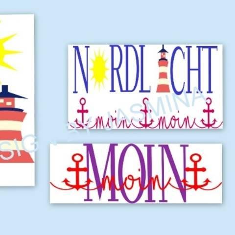 Plotterdatei  SVG  Nordlicht 1 Moin / Sonne und Leuchtturm