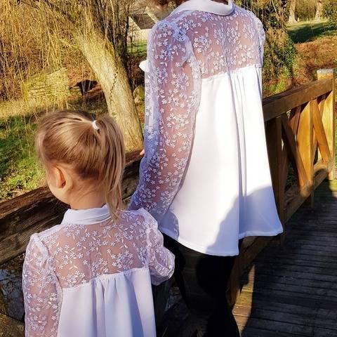 Option empiècement dos pour la blouse Néva duo mère/fille