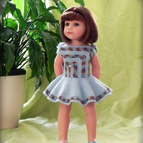 "Crochet pattern Doll dress ""Diagonal"""