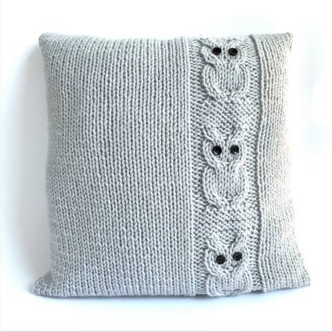 Knitting pattern- Family of Owls cushion - 41cm,16in sq.