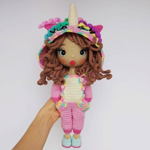 Astrid Doll crochet pattern in a Unicorn  outfit