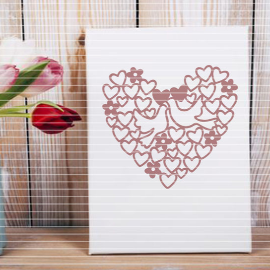"""Cutting file """"heart with dove"""" for Ironing-picture SVG DXF"""