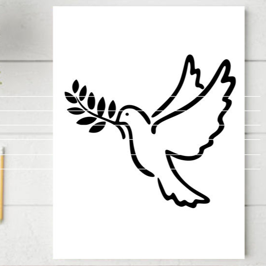"Cutting file ""dove"" for Ironing-picture SVG DXF"