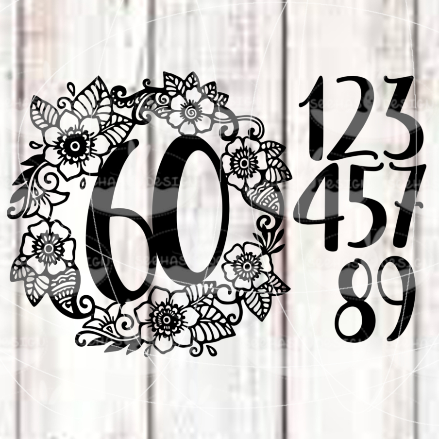 "Cutting file ""Flower numbers"" for Ironing-picture SVG DXF"