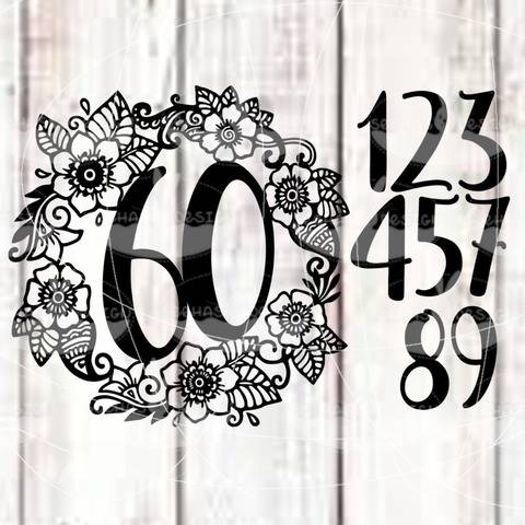 """Cutting file """"Flower numbers"""" for Ironing-picture SVG DXF"""