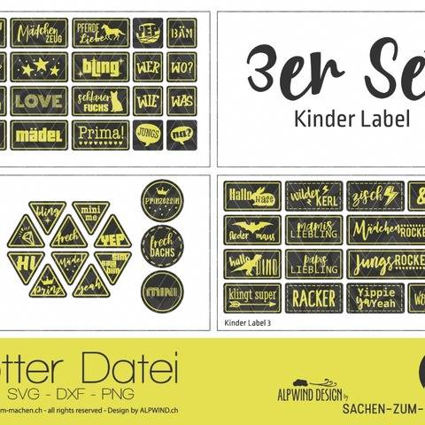 "Plotter-Datei ""Kinder Label"" 3er-Set"