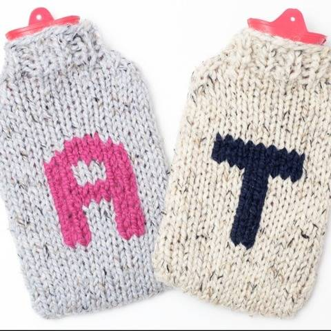 Monogram Hot Water Bottle Cover Sweater Cozy Initial Name
