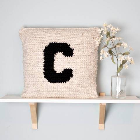 Monogram Pillow Chunky Cover Name Initial Letter 18 x 18