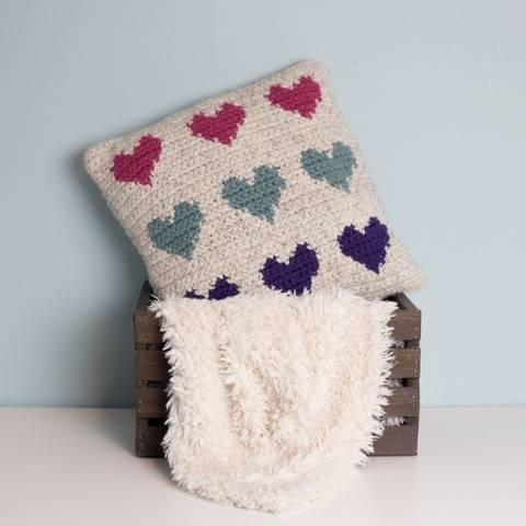 Mini Hearts Pillow Chunky Cover Name Initial Letter 18 x 18