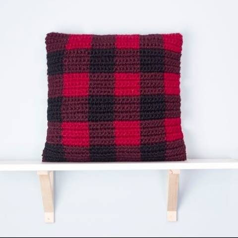 Buffalo Plaid Pillow Chunky Cover 18 x 18 Red Black Cabin