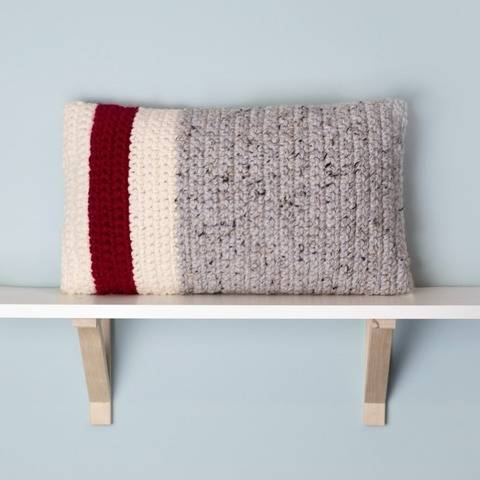 Roots Red Stripe Pillow Chunky Cover 12 x 20