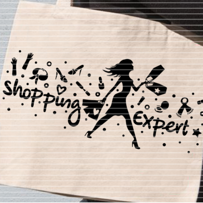 """Cutting file """"shopping expert"""" for Ironing-picture SVG DXF"""