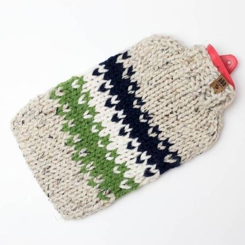 Fair Isle Hot Water Bottle Cover Cozy Chunky Colorful