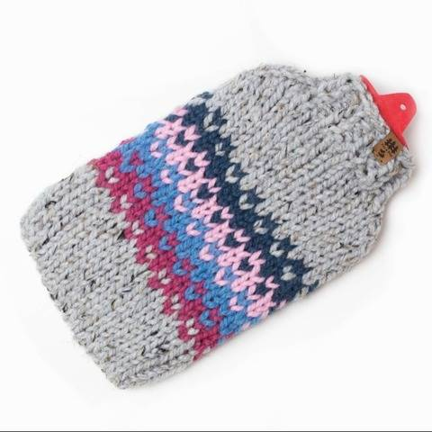 Hot Water Bottle Cover Fair Isle Cozy Chunky Colorful