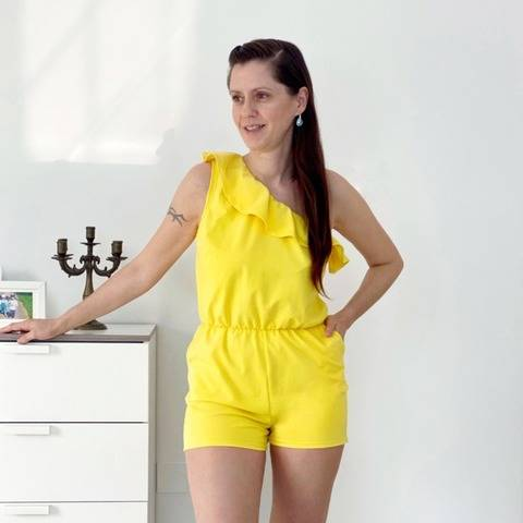 Women one shoulder overall sewing pattern for knit