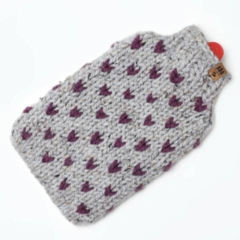 Little Hearts Hot Water Bottle Cover Fair Isle Cozy Chunky