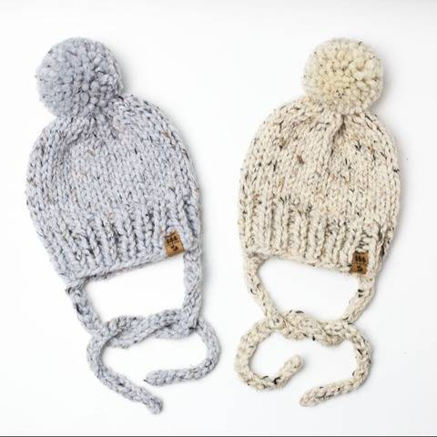 Side Ties Pompom Winter Hat Baby Children Women