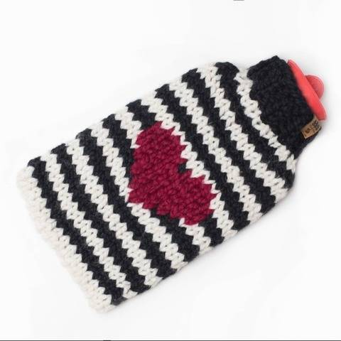 Heart Stripes Hot Water Bottle Cover Fair Isle Cozy Chunky