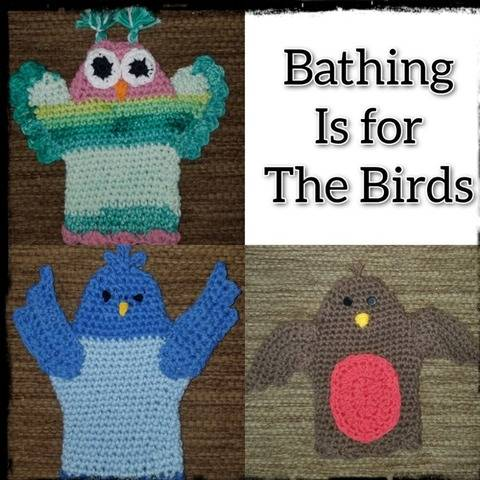Bathing is for the Birds - Child's Bath Mitts