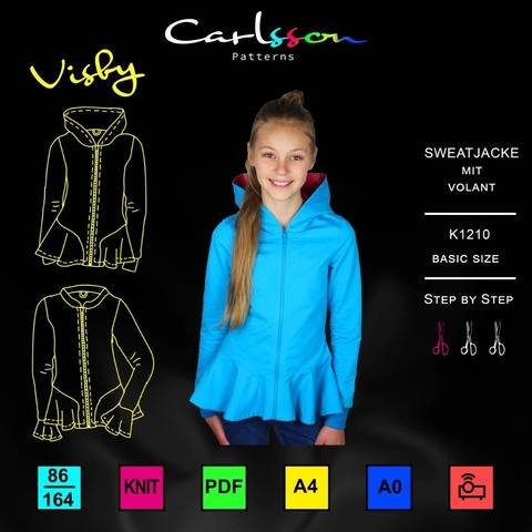 Visby K1210 Sweatjacke Mädchen 86-164 CARLSSON PATTERNS