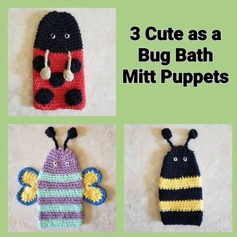 3 Cute as a Bug Bath Mitt Puppets