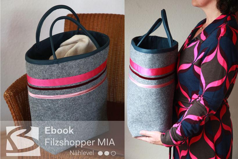 Tasche MIA aus Filz mit Leder- oder Stoffbesatz bei Makerist - Bild 1