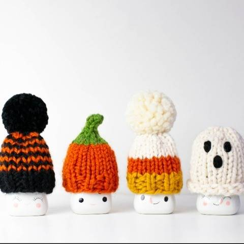 Halloween Marshmallow Mugs Hats Pompom Decor Pumpkin Fall