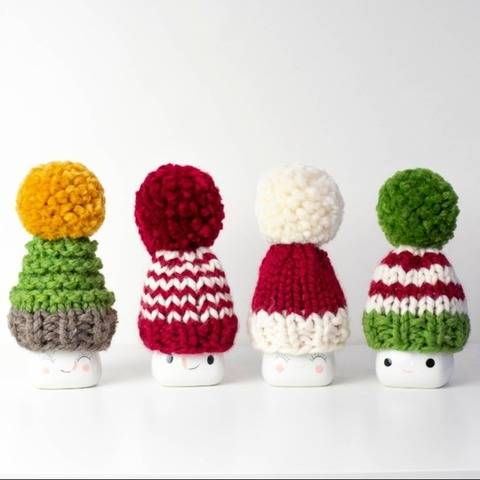 Christmas Marshmallow Mugs Hats Pompom Decor Santa Winter