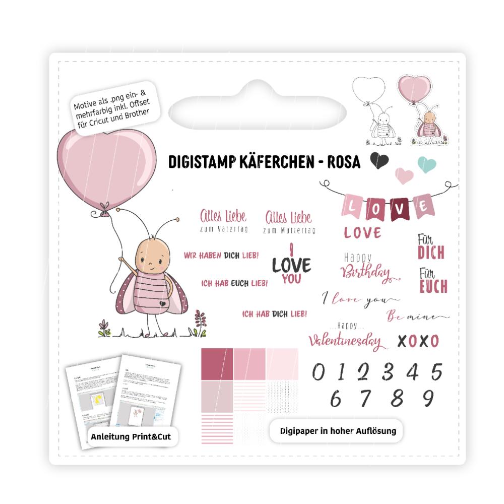 Digistamp Käferchen Rosa inkl. Anleitung & Digipaper